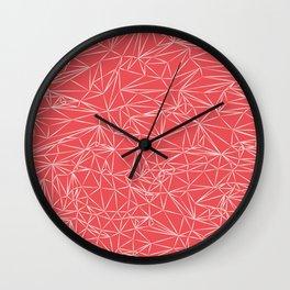 Coral Pink Geometric Wall Clock