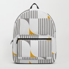 MID CENTURY MODERN Geometric Dynamic Triangle and Stripes Pattern yellow grey 02 Backpack