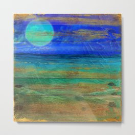 Turquoise Moon Night Metal Print