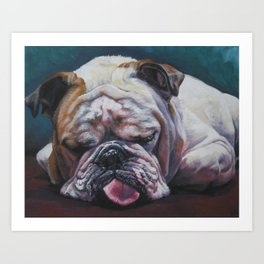 ENGLISH BULLDOG dog portrait painting by L.A.Shepard fine art Art Print
