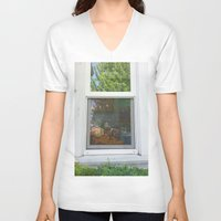 garfield V-neck T-shirts featuring Garfield in the House by Cody_Van