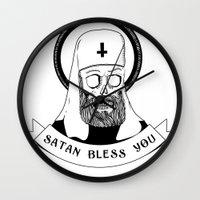 satan Wall Clocks featuring Satan bless you by Lunaramour