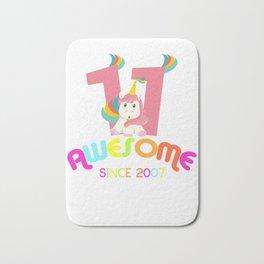 Awesome Since 2007 Unicorn 11th Birthday Anniversaries Bath Mat