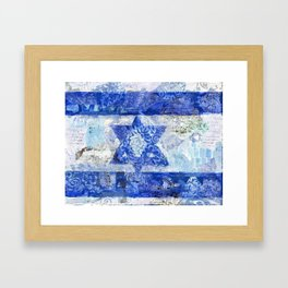Israeli Flag | judaic blue and white Framed Art Print
