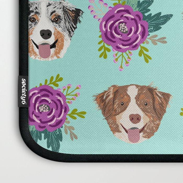 Australian Shepherd dog breed dog faces cute floral dog pattern Laptop Sleeve