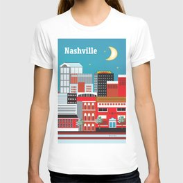 Nashville, Tennessee - Skyline Illustration by Loose Petals T-shirt