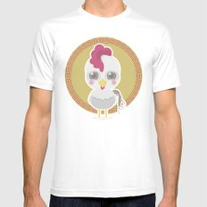 Year of the Rooster White MEDIUM Mens Fitted Tee