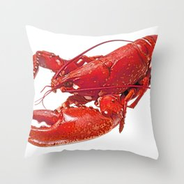Lobster Body Malacostraca Retracted Claws Red Tone crustacean Throw Pillow