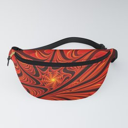 Red Floral Beauty, Abstract Fractal Art Fantasy Flower Fanny Pack