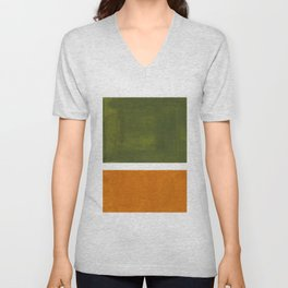 Olive Green Yellow Ochre Minimalist Abstract Colorful Midcentury Pop Art Rothko Color Field Unisex V-Neck