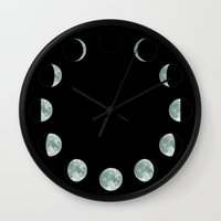 moon phases Wall Clocks featuring Moon phases by ShaMiLa