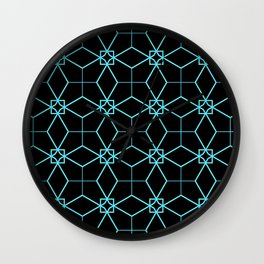 Lacy Pattern - Teal on Black Wall Clock