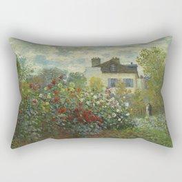 The Artist's Garden in Argenteuil (A Corner of the Garden with Dahlias) by Claude Monet (1873) Rectangular Pillow