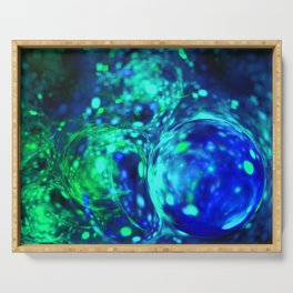 green bubbles abstract Serving Tray