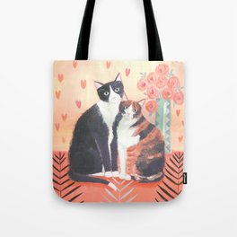 Cats with roses Tote Bag