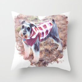 Hallie the Mini Schnauzer Throw Pillow