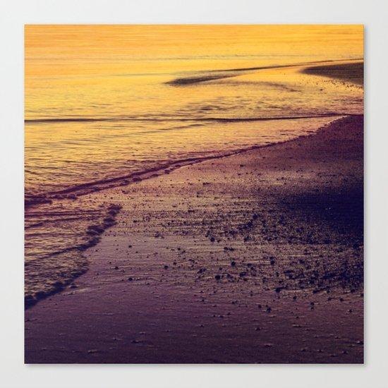 Golden Sunset at Beach Canvas Print