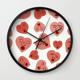Kissing Hearts Wall Clock
