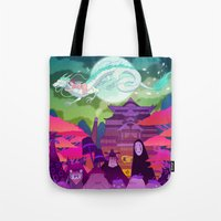 spirited away Tote Bags featuring Spirited Away by Jen Bartel