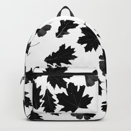 Falling Autumn Leaves in Black and White Backpack