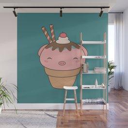 Kawaii Cute Pig Ice Cream Cone Wall Mural