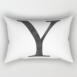 Letter Y Initial Monogram Black and White Rectangular Pillow