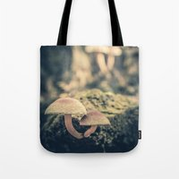 mushrooms Tote Bags featuring mushrooms by Koka Koala