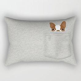 Pocket Boston Terrier - Red Rectangular Pillow