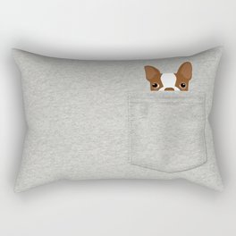 Pocket Boston Terrier - Red Rectangular Pillow