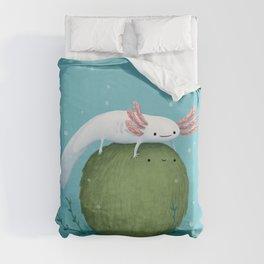Axolotl on a Mossball Duvet Cover