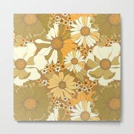 Brown, Orange, Ivory & Green Vintage Flower Pattern Metal Print