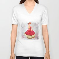 pin up V-neck T-shirts featuring Pin up by Sara Sanchez