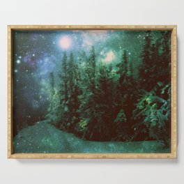 Galaxy Winter Forest Green Serving Tray