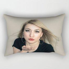 Blonde blowing a kiss Rectangular Pillow
