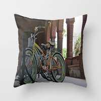 bikes Throw Pillows featuring Bikes by Photaugraffiti