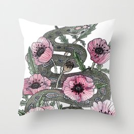 Snake and Poppies Throw Pillow