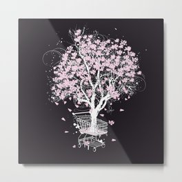 Blooming tree in shopping cart Metal Print