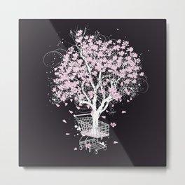 Blooming tree in shopping cart Metal Print
