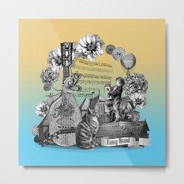 Street music vintage engraving collage Metal Print