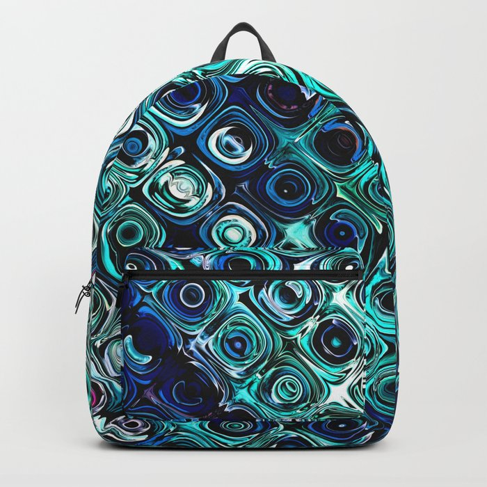 Blue And Green Pattern Backpack