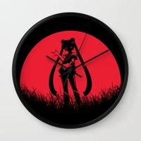 sailormoon Wall Clocks featuring Red Moon SailorMoon by Timeless-Id