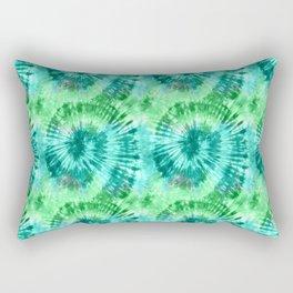Summer Vibes Tie Dye Spirals in Blue Green Rectangular Pillow