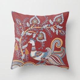 Bird and a Flower Branch. Indian style. Kalamkari. Throw Pillow