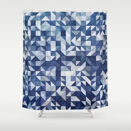 Blue and White Triangles and Squares Shower Curtain