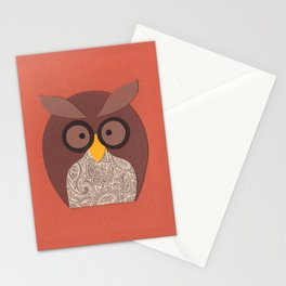 Owl Brown Peach Stationery Cards