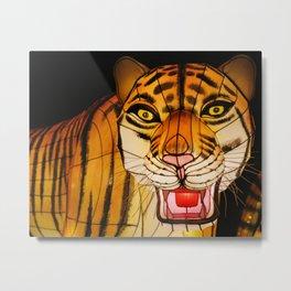 Glowing Chinese tiger lantern at night Metal Print