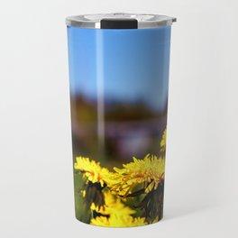 Concept flora . Dandelions in a field Travel Mug