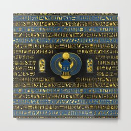 Golden Egyptian Scarab Ornament on  leather Metal Print