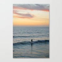 surfer Canvas Prints featuring Surfer by Mary Curtis