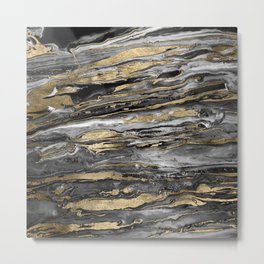 Stylish gold abstract marbleized paint Metal Print